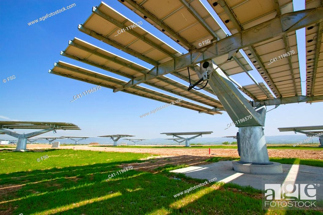 Stock Photo: Solar energy plant, Navarra, Spain.