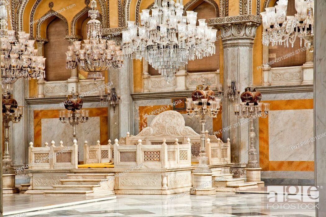 Stock Photo: Interior of a Palace, Chowmahalla Palace, Hyderabad, Andhra Pradesh, India.