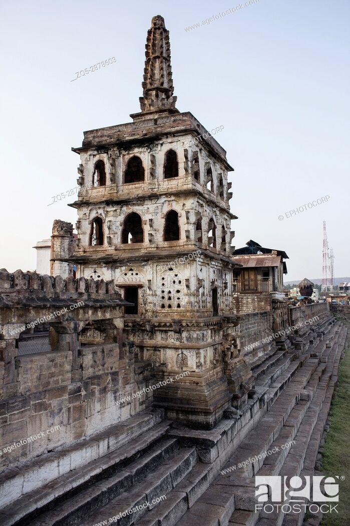 Stock Photo: Watch tower , Banashankari Temple, Karnataka, India facade, Badami, Karnataka.
