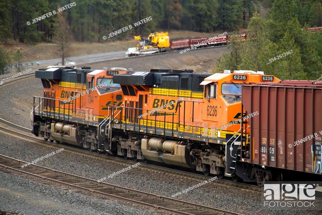 Stock Photo: Distributed power units at the back of a BNSF train at Scribner, Washington, USA.