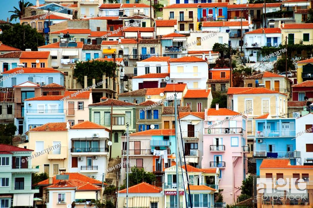 Stock Photo: View of town of Plomari on Greek Island of Lesvos in the Aegean.