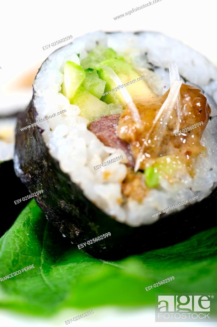 Stock Photo: macro closeup of fresh sushi choice combination assortment selection.