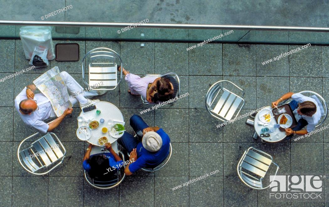 Stock Photo: Paris, France, People Sharing Meals ion Cafe-Restaurant Terrace in Les Halles Area.
