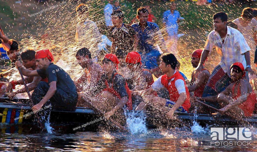 Stock Photo: Boat race competition has been holding for two hundred fifty years due to the Laxmi Puja  Hindu religious festival at Kaligonj.