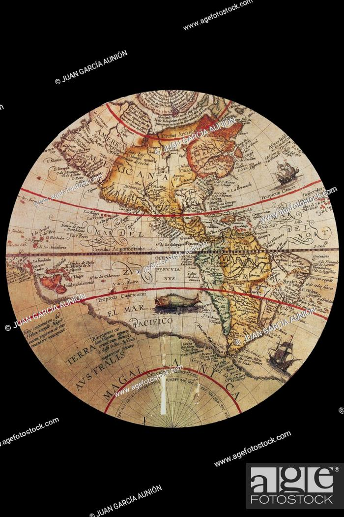 Stock Photo: 1594 Map of the Americas made by Theodore de Bry. Cropped corners.