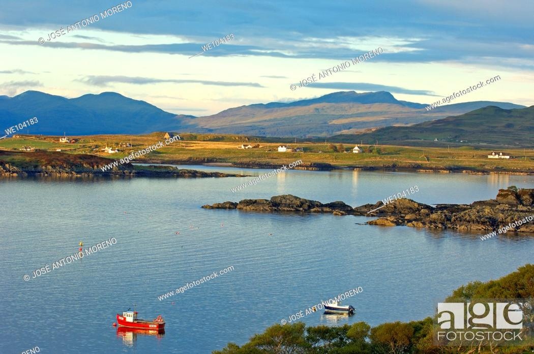 Stock Photo: Boats at sunset in Loch Scridian, Mull, Inner Hebrides, Argyll and Bute, Scotland, United Kingdom, Europe.