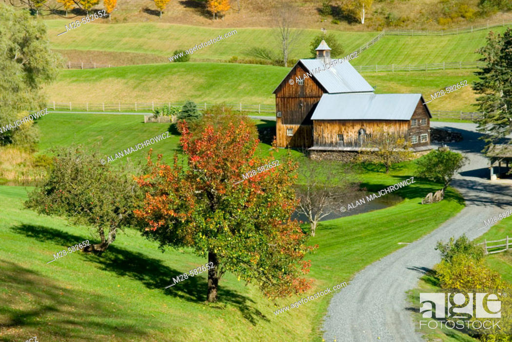 Stock Photo: Farm on Cloudland Road Near Woodstock Vermont USA.