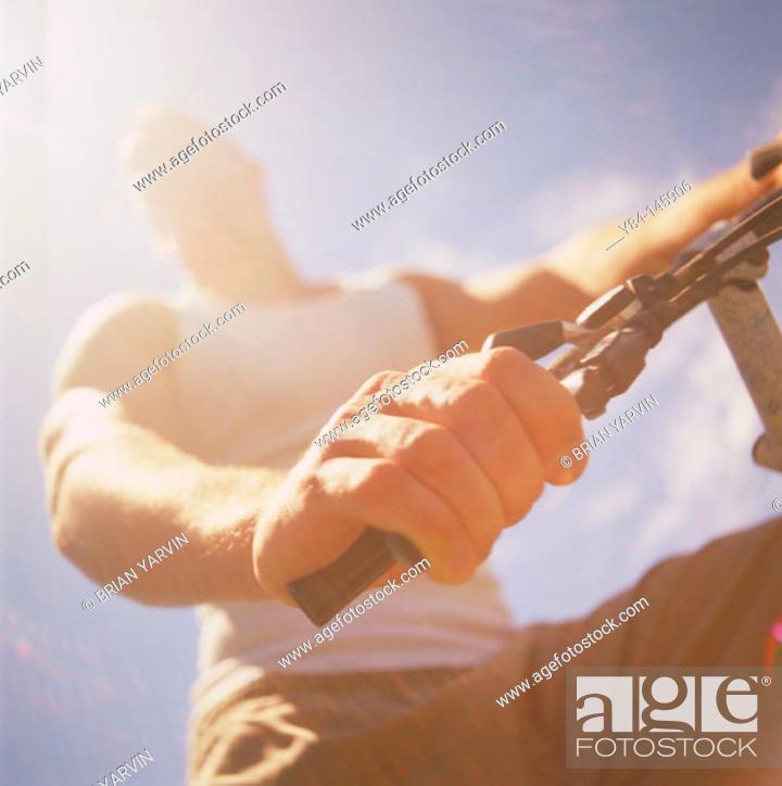 Stock Photo: Man cycling.