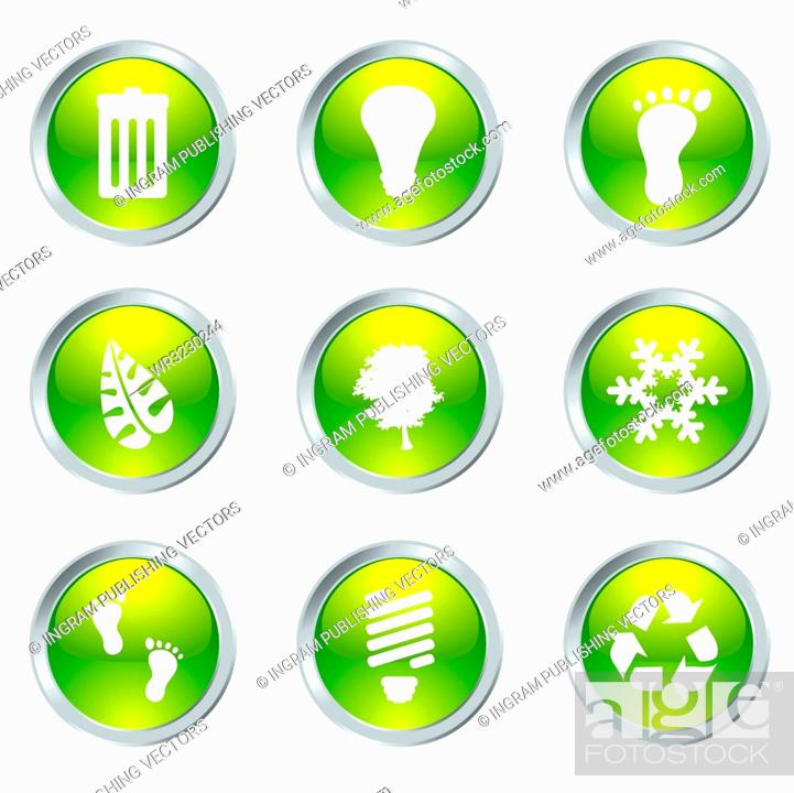 Stock Vector: Ecology set of nine icons with silver bevel in green.