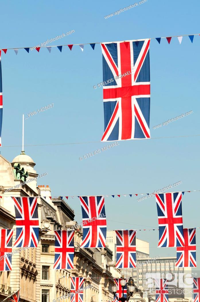 Stock Photo: Union Jack Flags along Regent Street to Celebrate the Royal Wedding, London, England.