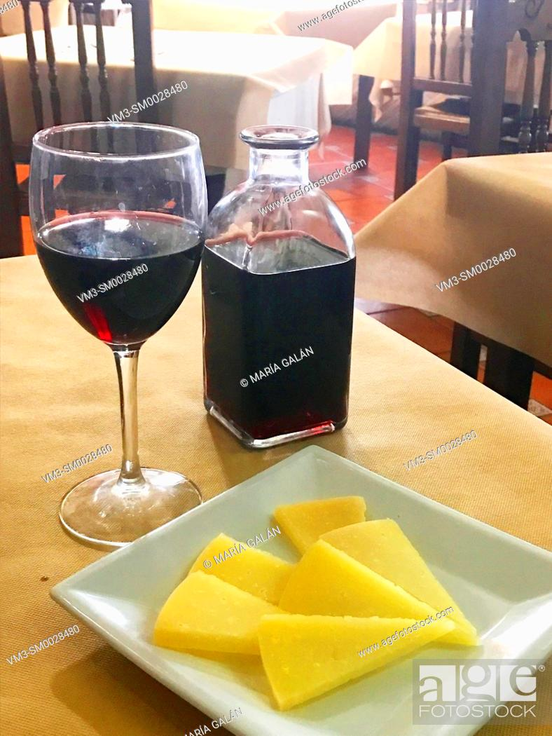 Stock Photo: Cheese and red wine. Spain.