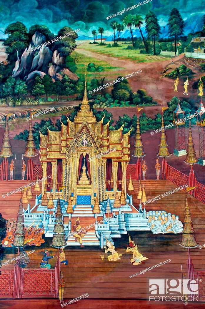 Stock Photo: Thai Mural Painting on the wall, Wat Phra Kaew Ramayana story.