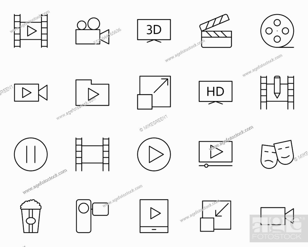 Stock Vector: Video thin line icons set. 96x96 for Web Graphics and Apps. Simple Minimal Pictograms. Vector.
