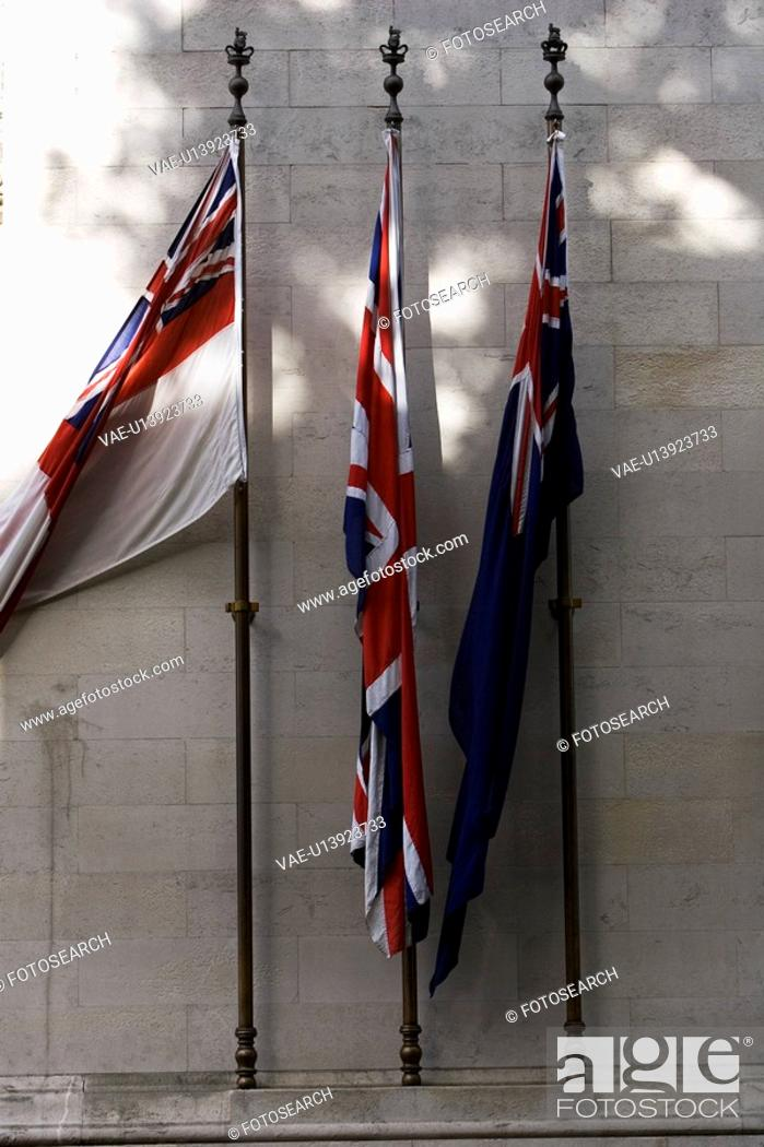 Stock Photo: Brick Wall, Day, Flag Post, In Front Of, National Flag.