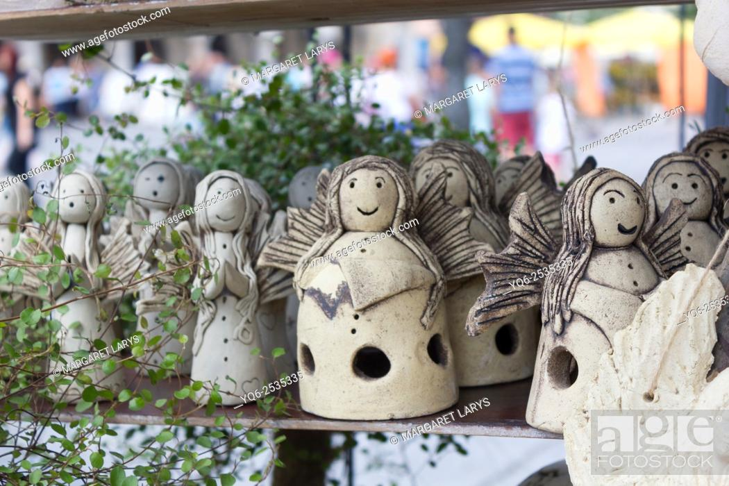 Stock Photo: Beautiful handmade souvenirs in the market in Krakow, Poland.
