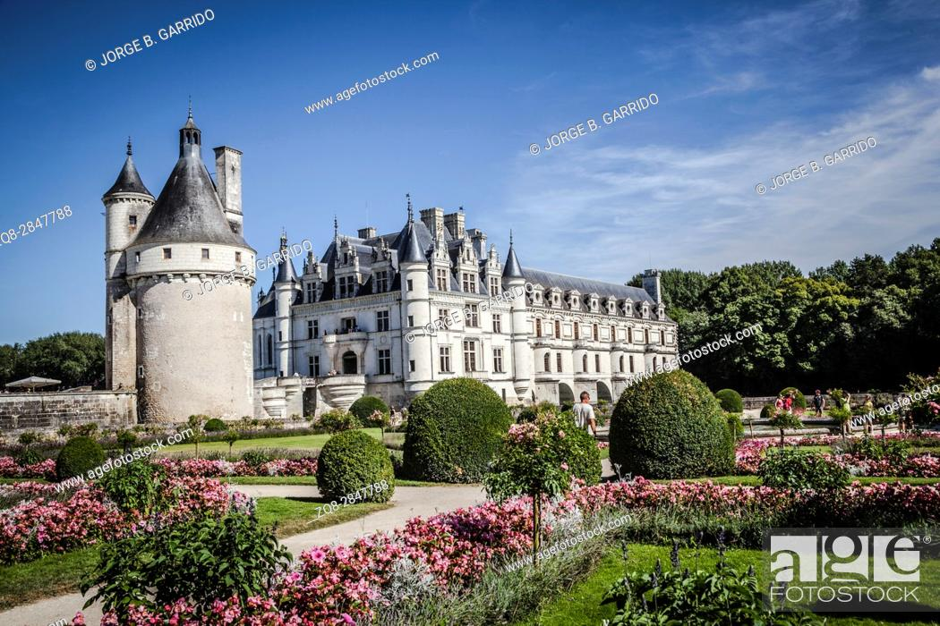 Stock Photo: Chenonceau Castle in Loire Valley.