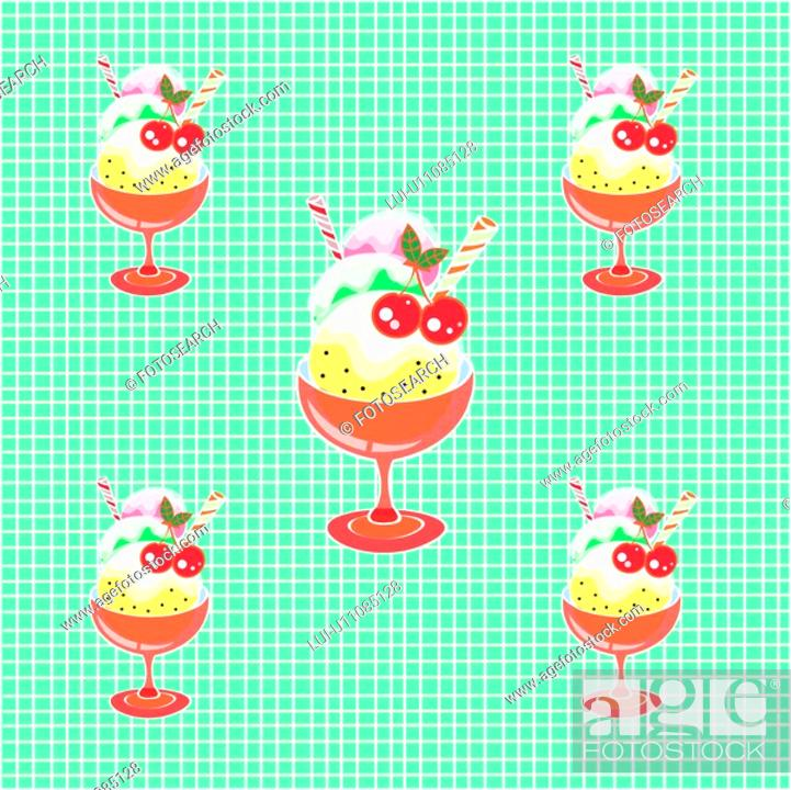 Stock Photo: indoors, wallpaper, background, cup, icecream, design arts, pattern.