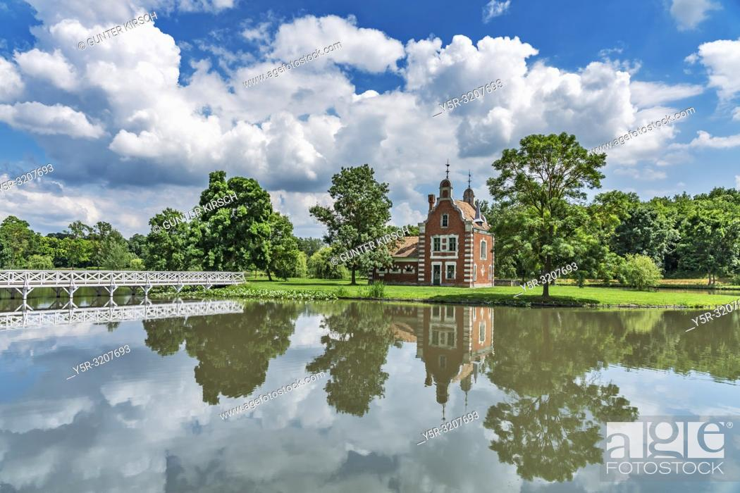Stock Photo: The Dutch House is located in the park of the Palais Festetics in Deg. The castle was built in 1815-1819 in the neoclassicism style according to the plans of.