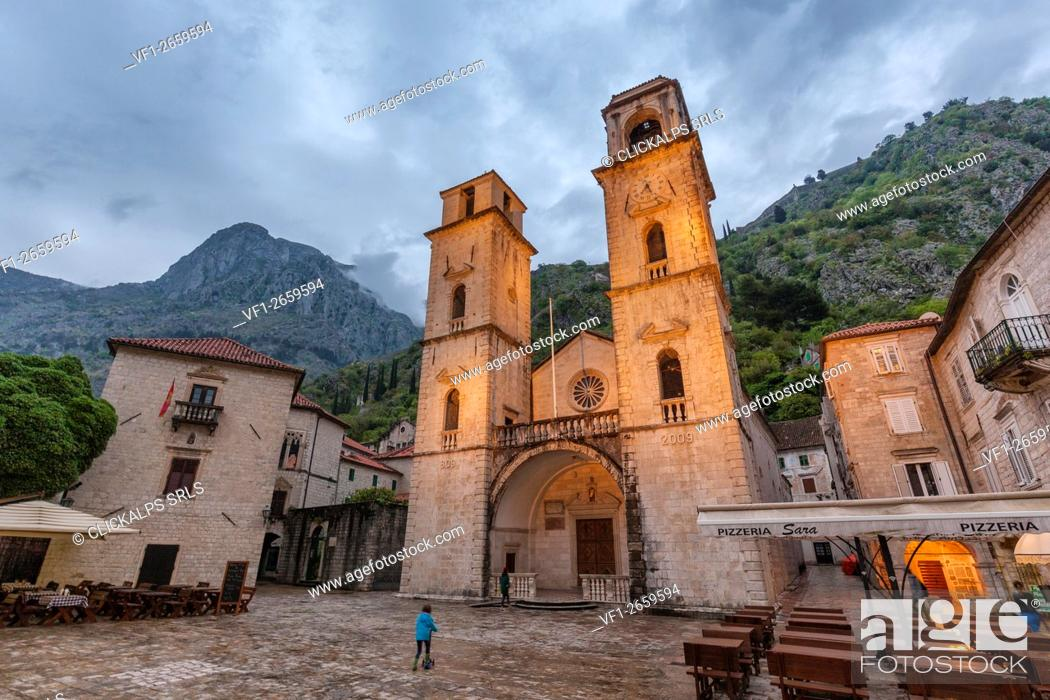 Stock Photo: Cathedral of St. Tryphon, view of the exterior facade, Kotor old city, Montenegro.
