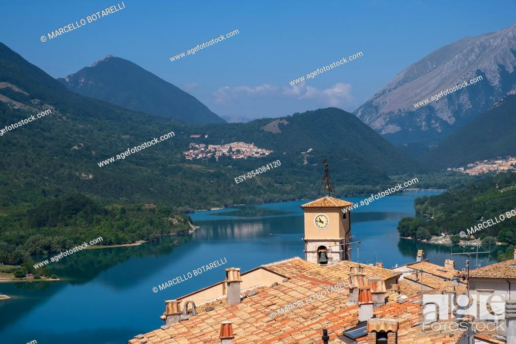 Stock Photo: View of Barrea lake, in National park of Abruzzo, and mountains on background.