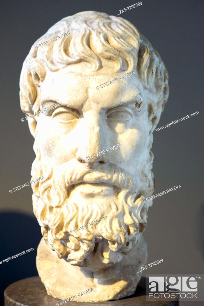 Imagen: Marble head of Epikouros (c. 342/1 - 271/0 BC) founder of the Epicurean School. Roman copy after a lost Greek original of the third or second century BC.