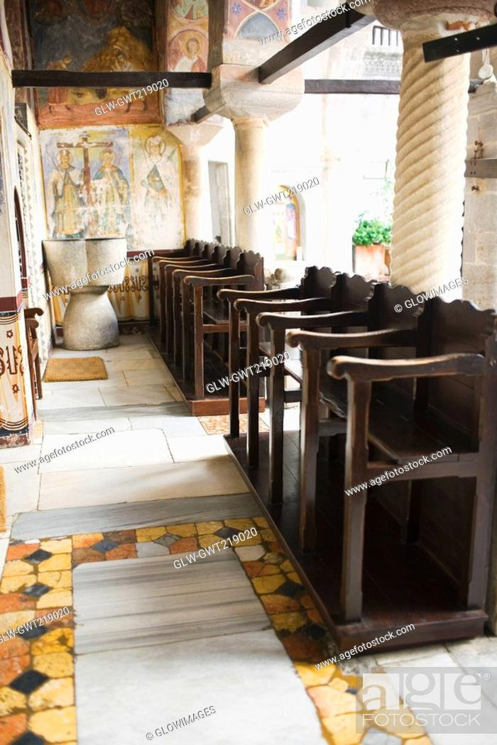 Stock Photo: Pews in a church, Monastery of St  John the Divine, Patmos, Dodecanese Islands, Greece.
