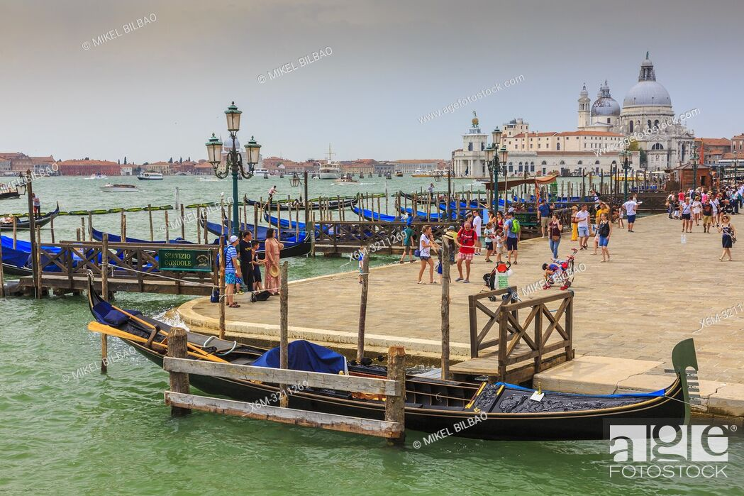 Stock Photo: Gondolas in St Mark's Square pier. Venice, Italy. Europe.