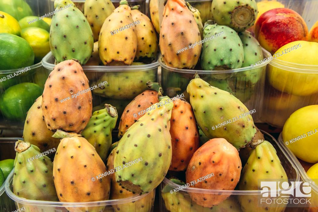 Stock Photo: Indian fig opuntia on Mercato Delle Erbe food market in Bologna, capital and largest city of the Emilia Romagna region in Northern Italy.