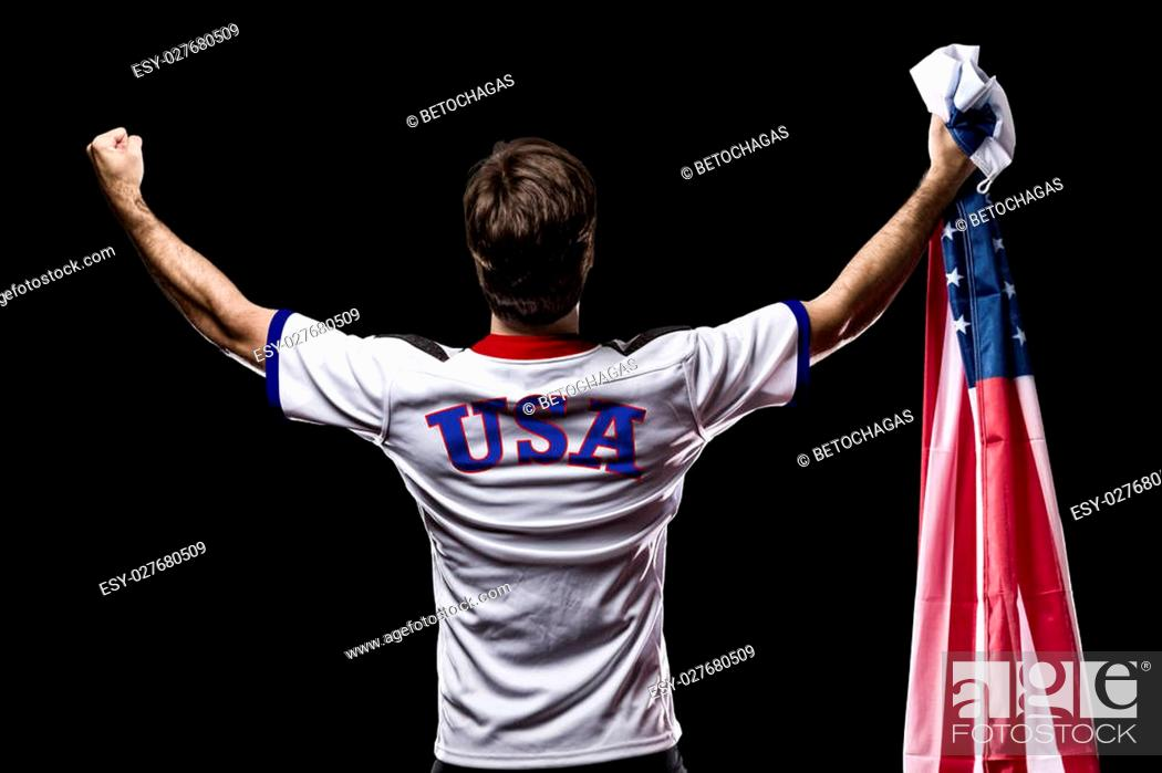Stock Photo: American Athlete Winning a golden medal on a black Background.