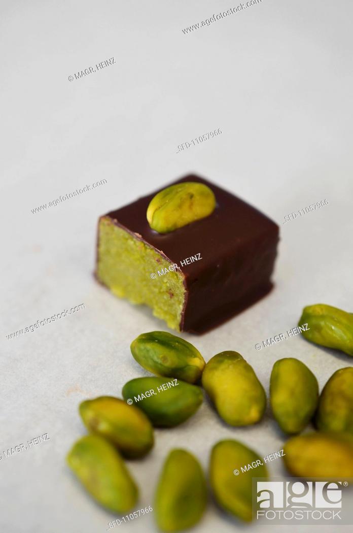 Stock Photo: Pistachio-marzipan praline.