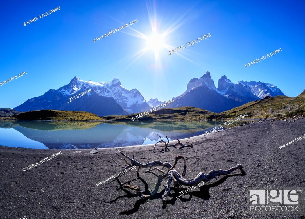 Stock Photo: View towards Paine Grande and Cuernos del Paine, Torres del Paine National Park, Patagonia, Chile.