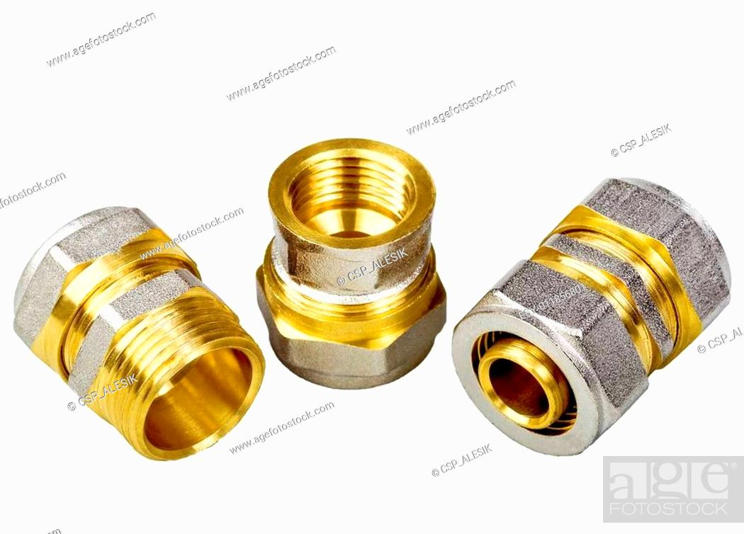 Stock Photo: Plumbing fixtures and piping parts.