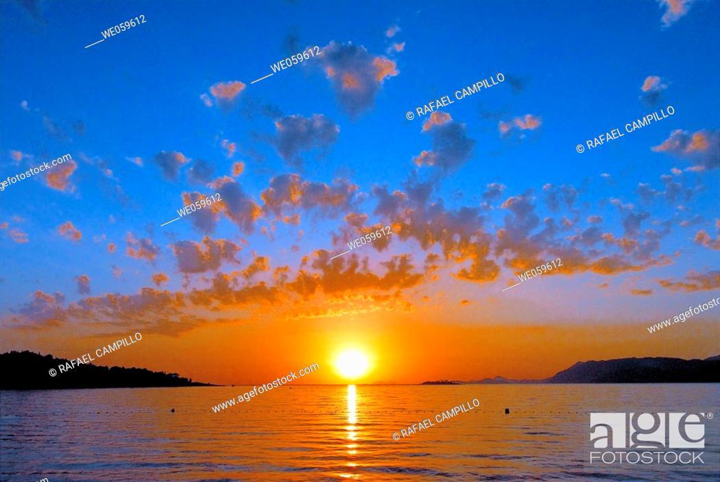 Stock Photo: Sunset. Cavtat. Croacia.