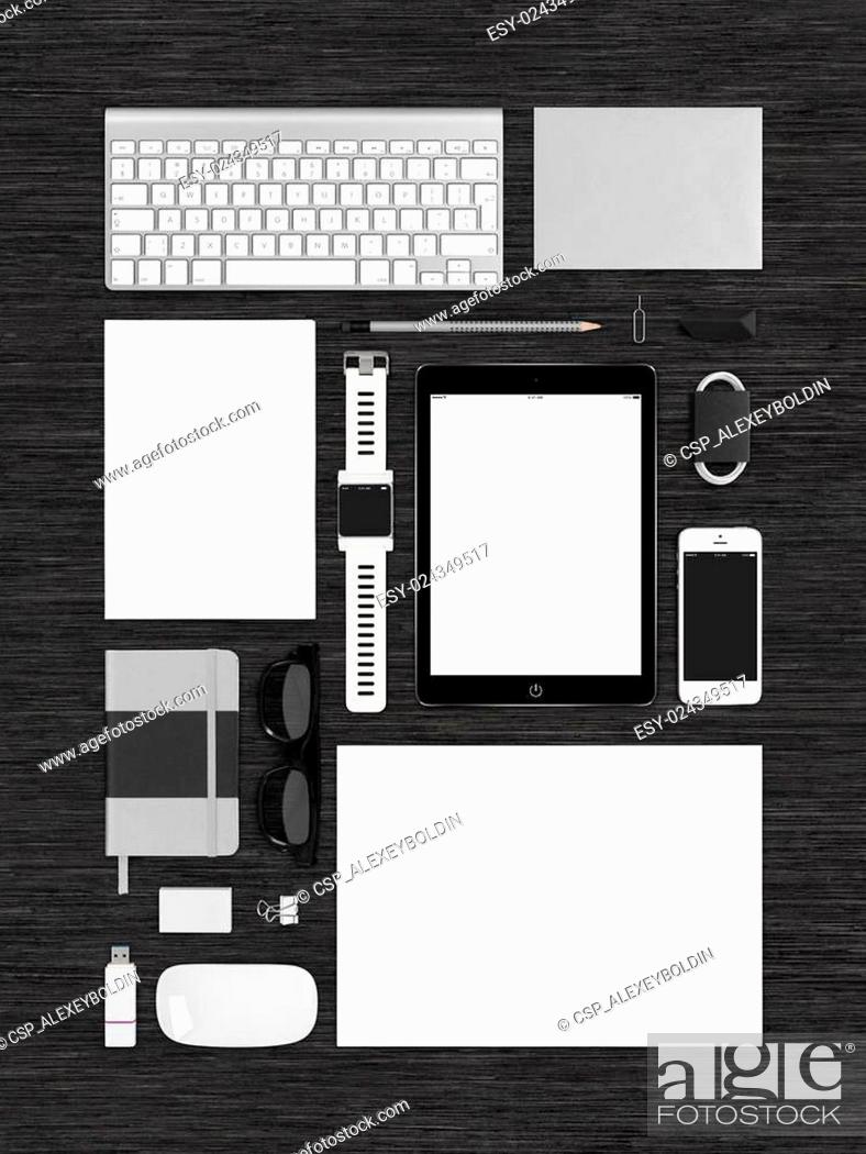 Stock Photo: Top view of technology template mockup for branding identity on.