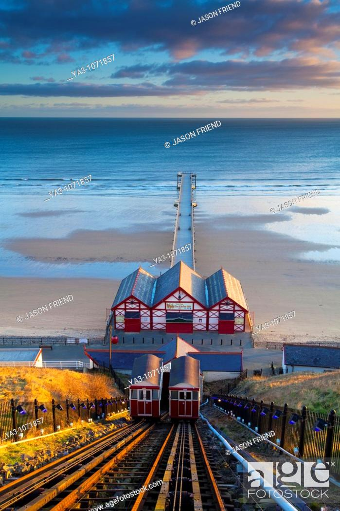 Stock Photo: England, Cleveland, Saltburn-by-the-Sea  View from the top of the funicular railway, one of the world's oldest water-powered cliff lifts.