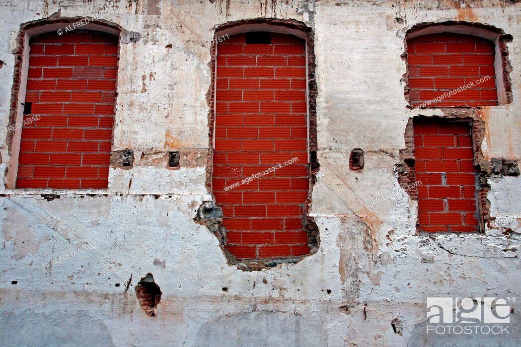 Stock Photo: shuttered windows, old industry, Vilassar de Dalt, Catalonia, Spain.