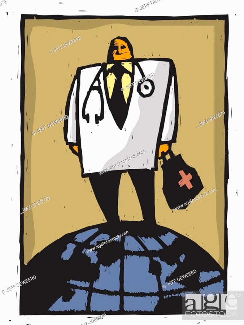 Stock Photo: A doctor standing on a globe.