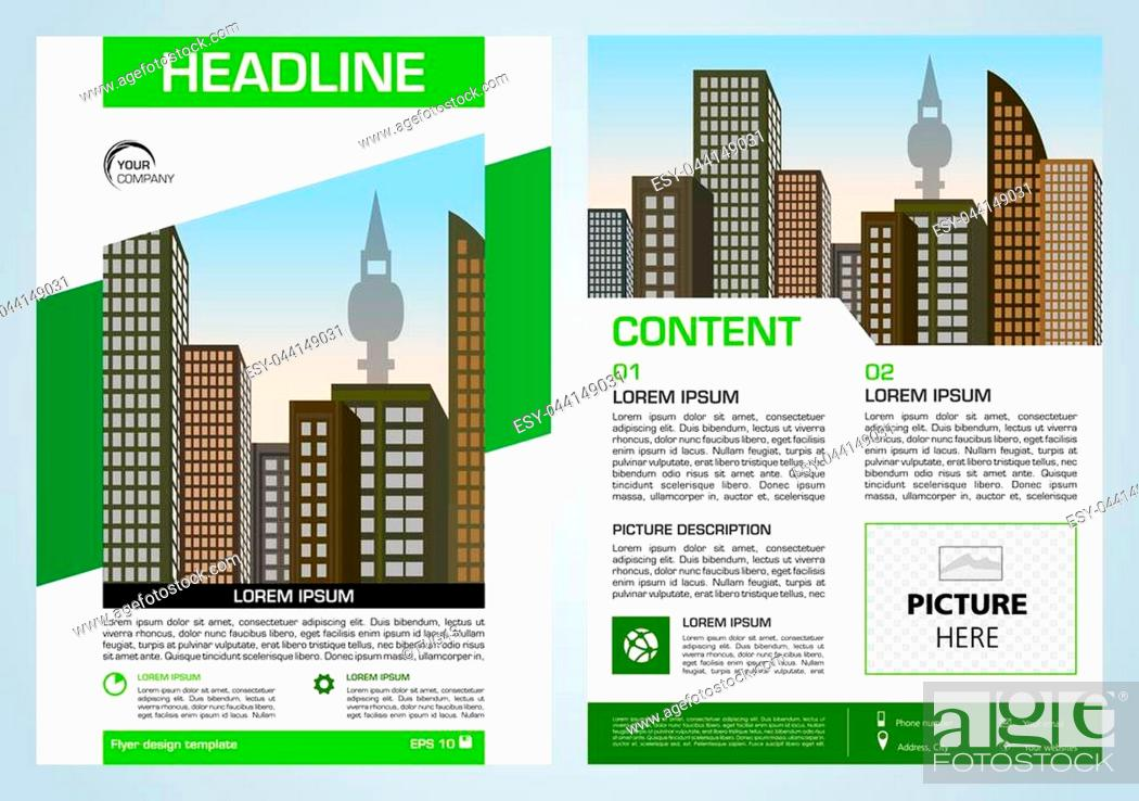 Stock Vector: Vector flyer, corporate business, annual report, brochure design and cover presentation with green elements.