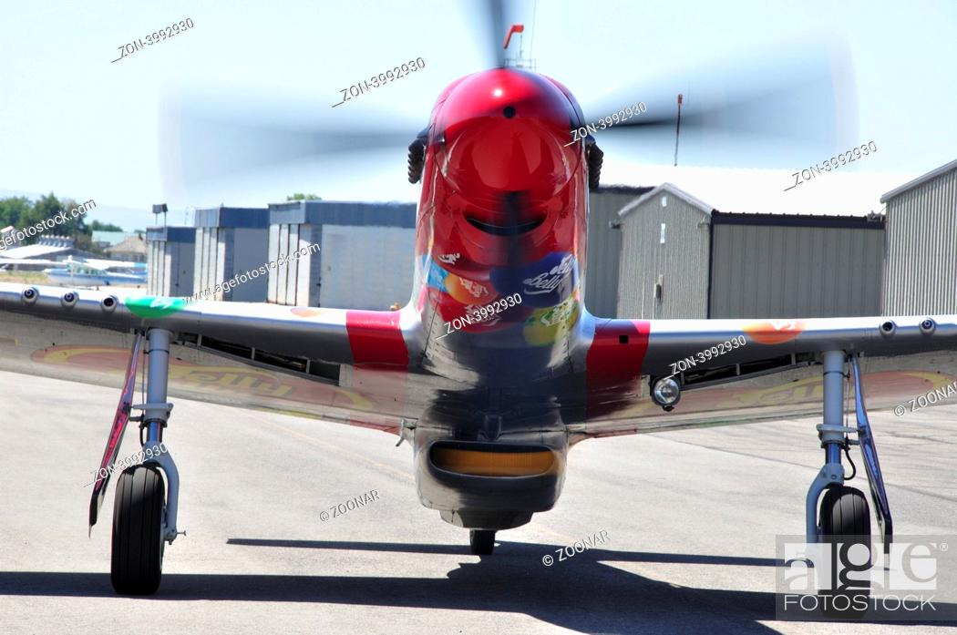 Stock Photo: P-51D, Sparky, sponsored by Jelly Belly, taxiing at Nampa Airport.