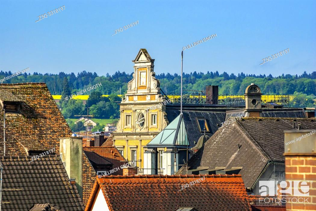 Stock Photo: View across the rooftops of the Old Town of Constance at Lake Constance, Germany, Europe.