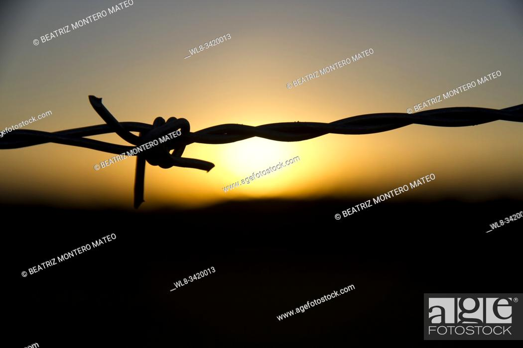 Stock Photo: Cable over sunset in Salas de los Infantes (Burgos, Spain).