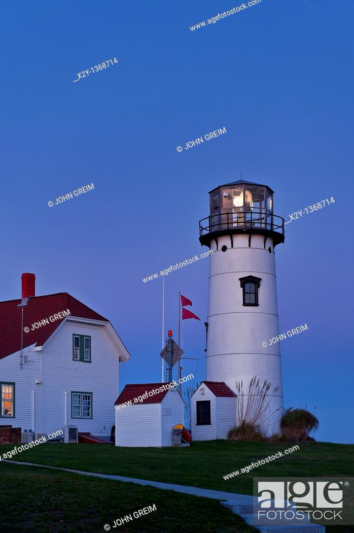 Stock Photo: Chatham Light and Coast Guard station, Chatham, Cape Cod, MA.
