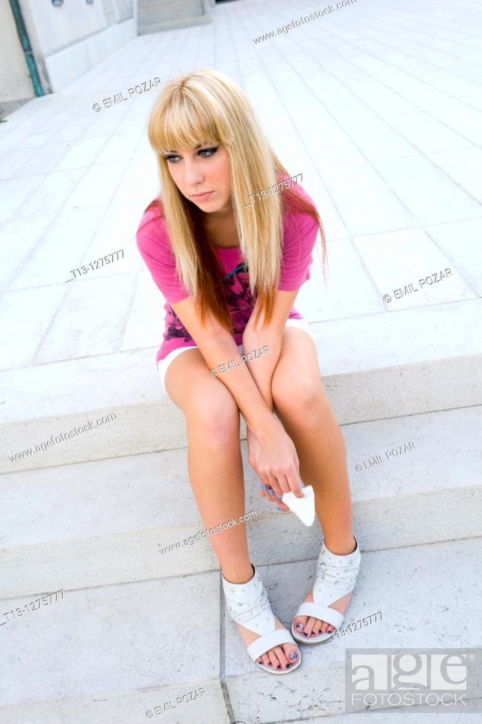 Stock Photo: Depressive girl.