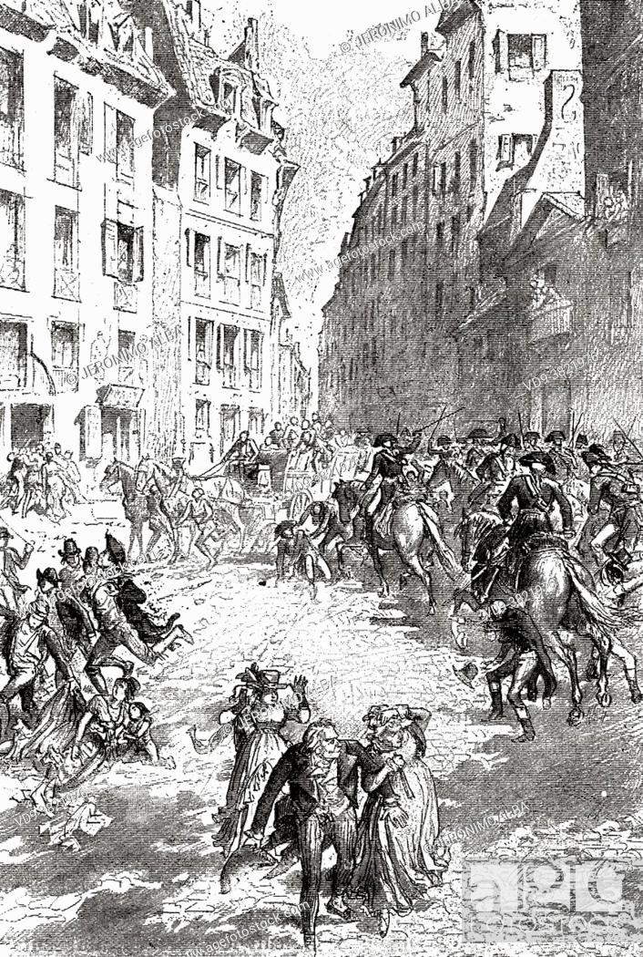 Stock Photo: Francois Henriot (1761-1794) dispersed the crowd with sabers, Paris. France. Old 19th century engraved illustration from Histoire de la Revolution Francaise.