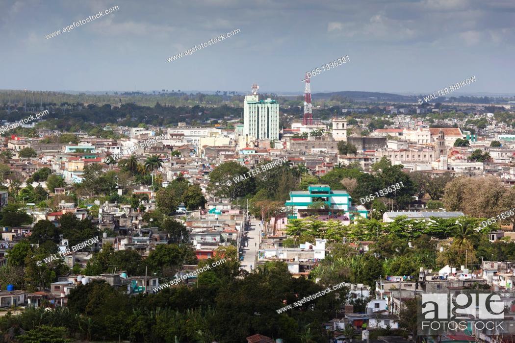 Stock Photo: Cuba, Santa Clara Province, Santa Clara, elevated city view from the Lomo de Caparo.