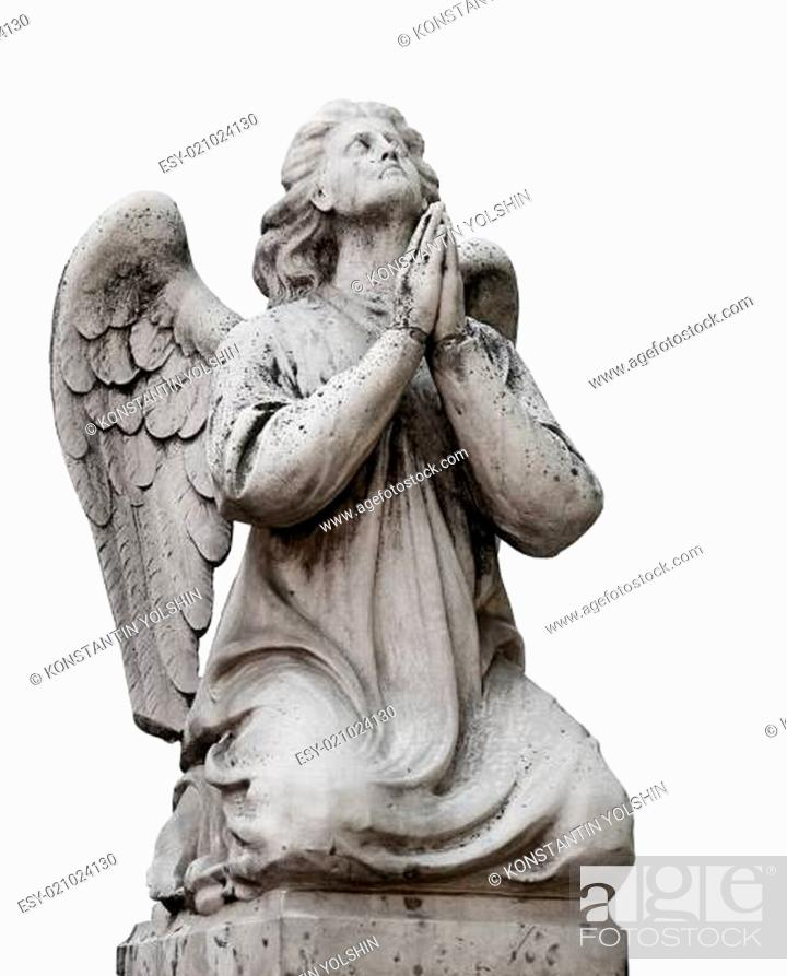 Stock Photo: statue of the angel in white background.