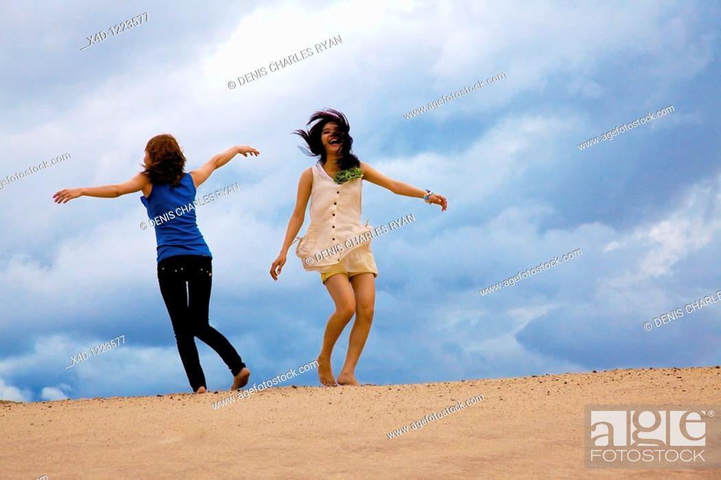 Stock Photo: Women on the beach.