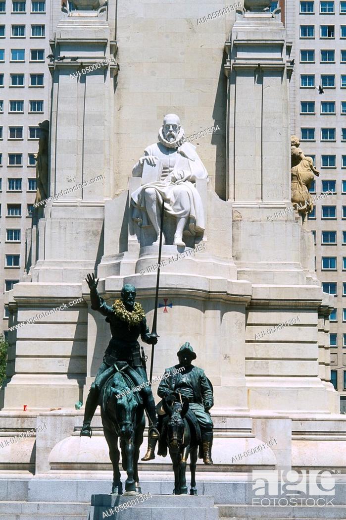 Stock Photo: Spain - Madrid - Plaza de Espagna - monument to Miguel de Cervantes - Don Quixote de la Mancha - Sancho Panza.