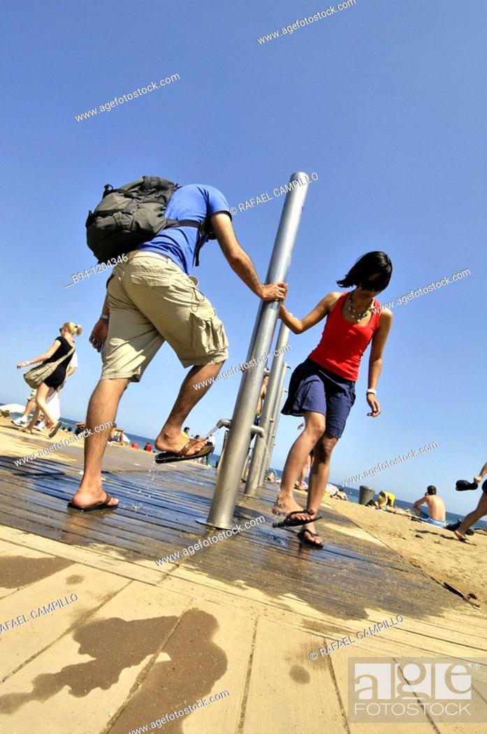 Stock Photo: Showers at Barceloneta beach, Barcelona, Catalonia, Spain.