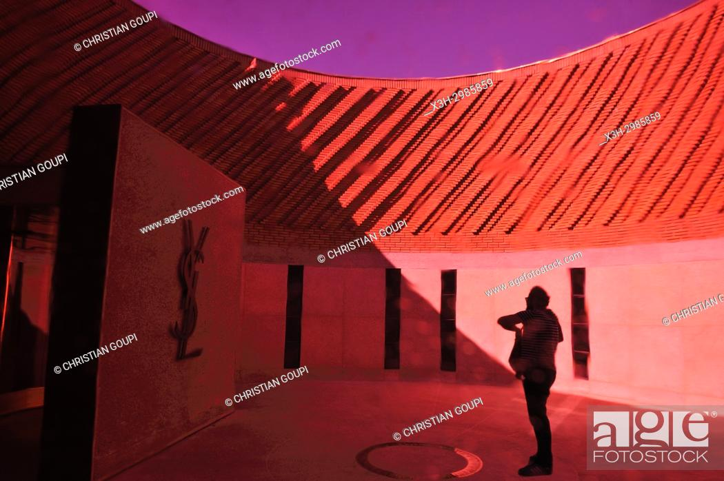 Stock Photo: outside entrance of the Musee Yves Saint-Laurent (design by Studio KO), Marrakesh, Morocco, North Africa.